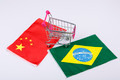 Shopping cart with Brazil and China flag - PhotoDune Item for Sale