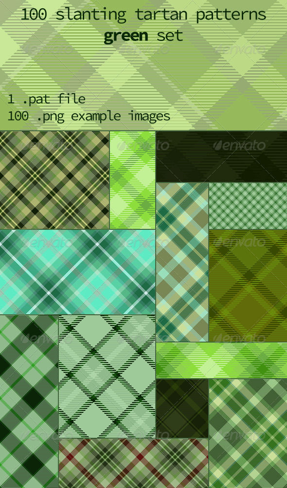 GraphicRiver Tartan Pattern Collection Slanting Green set 8344006