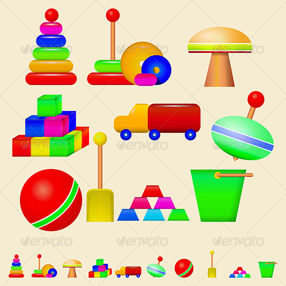 GraphicRiver Illustration of Children Toys 8346267