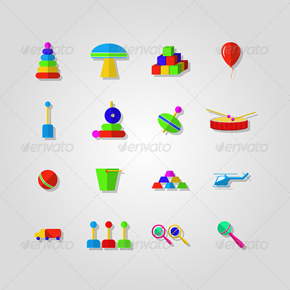 GraphicRiver Children Toys Icons 8346796