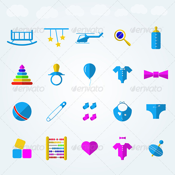 GraphicRiver Children Toys Flat Icons 8346996