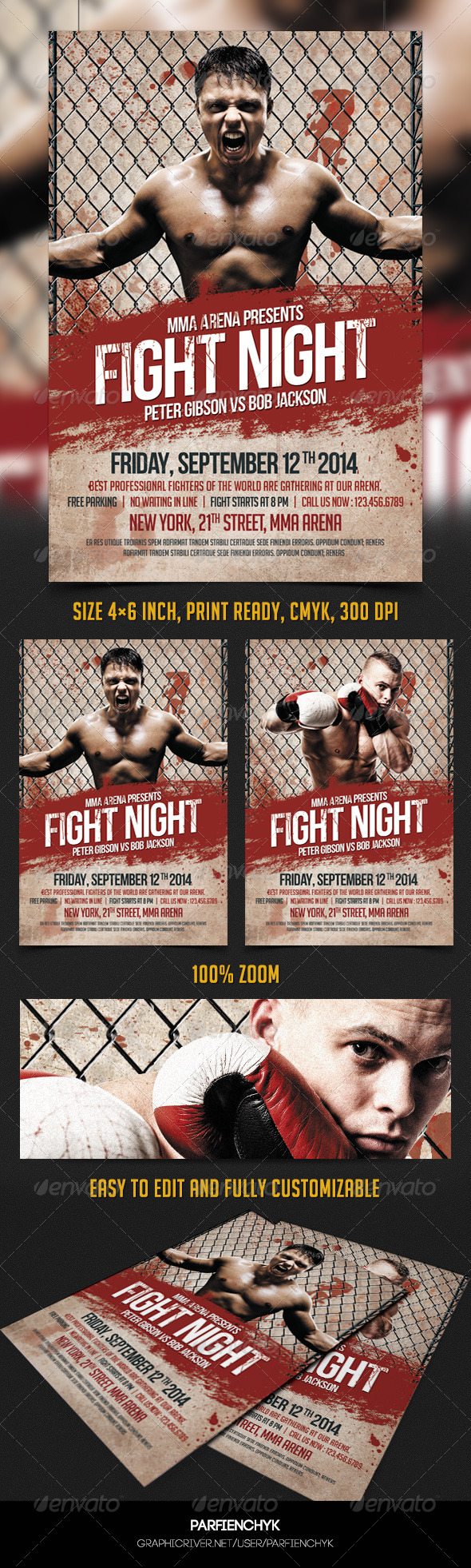GraphicRiver Fight Night Flyer Template 8283205