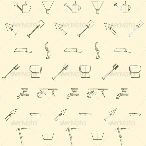 GraphicRiver Gardening Tools Background 8348054
