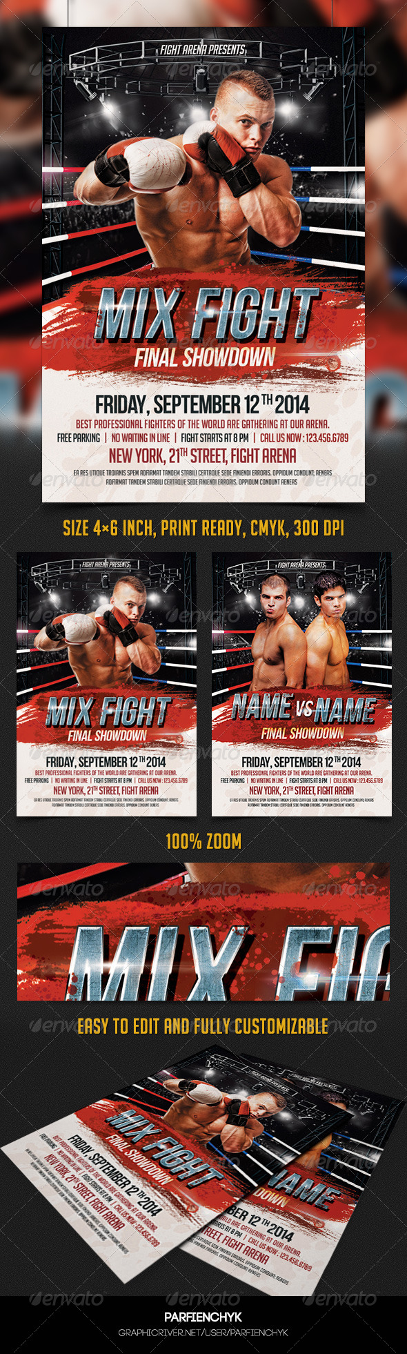 GraphicRiver Mix Fight Flyer Template 8273057
