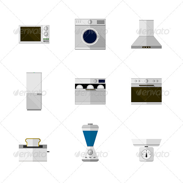 GraphicRiver Home Equipment Flat Icons 8348075
