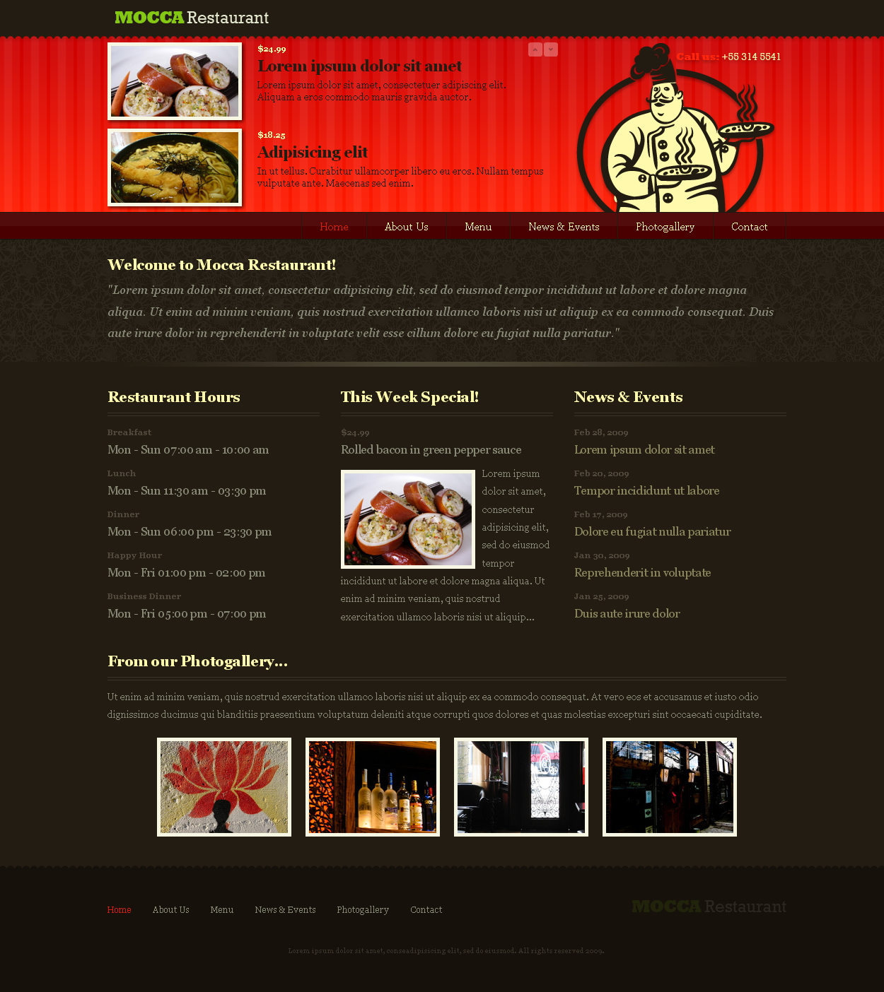 Sofa Restaurant HTML - Home page layout