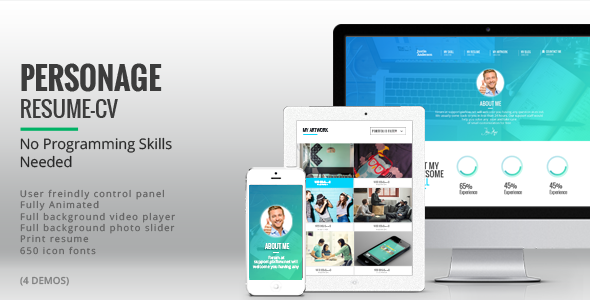 ThemeForest Personage Easy Setup CV Resume 8348919