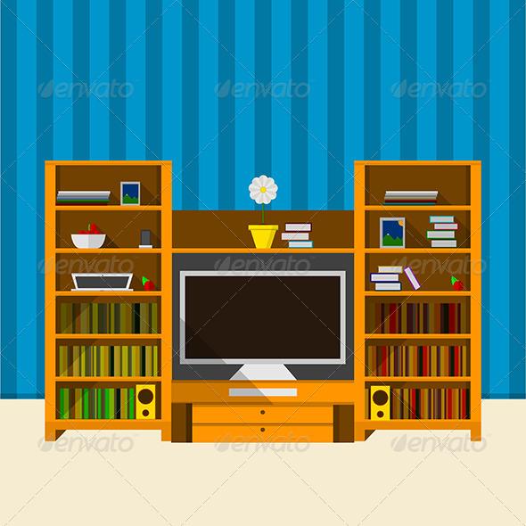 GraphicRiver Illustration of TV room 8348925