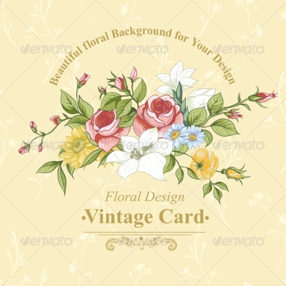 GraphicRiver Vintage Greeting Card with Flowers 8349261