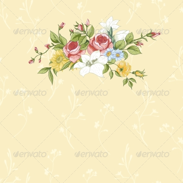 GraphicRiver Vintage Greeting Card with Flowers 8349270