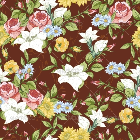GraphicRiver Seamless Pattern with Vintage Wildflowers 8349552