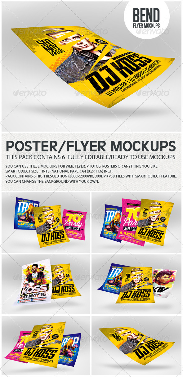 GraphicRiver Bend Flyer Poster Mockups 8349558