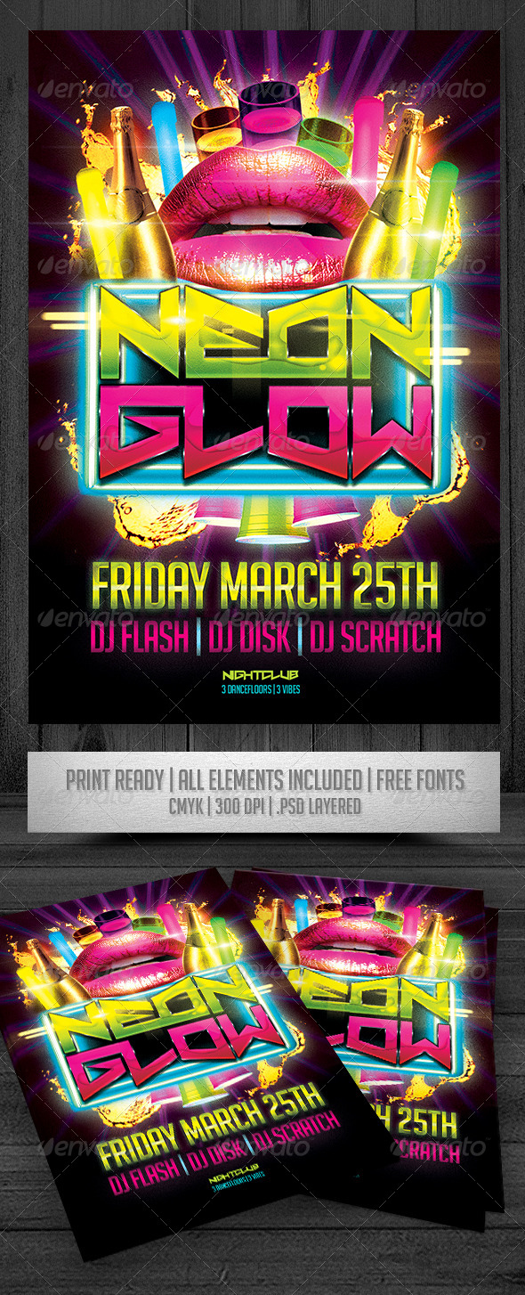 GraphicRiver Neon Glow Flyer 8349701