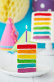 Colorful slice of rainbow birthday cake - PhotoDune Item for Sale
