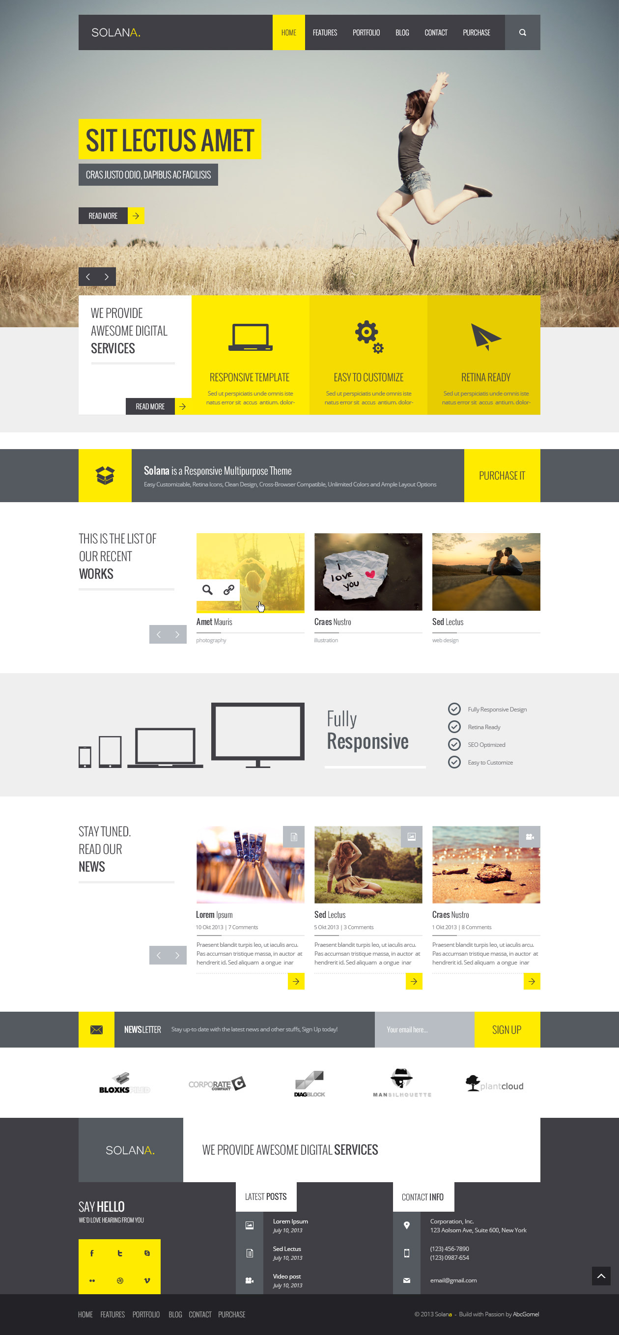 Solana - Responsive HTML5 Template by abcgomel | ThemeForest
