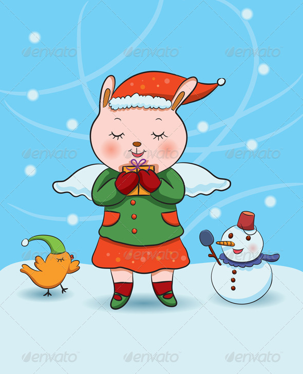 Graphic River Christmas Bunny Angel Vectors -  Characters 845478