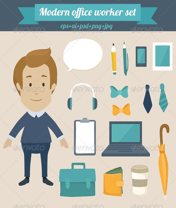 GraphicRiver Modern Office Worker Set 8350739