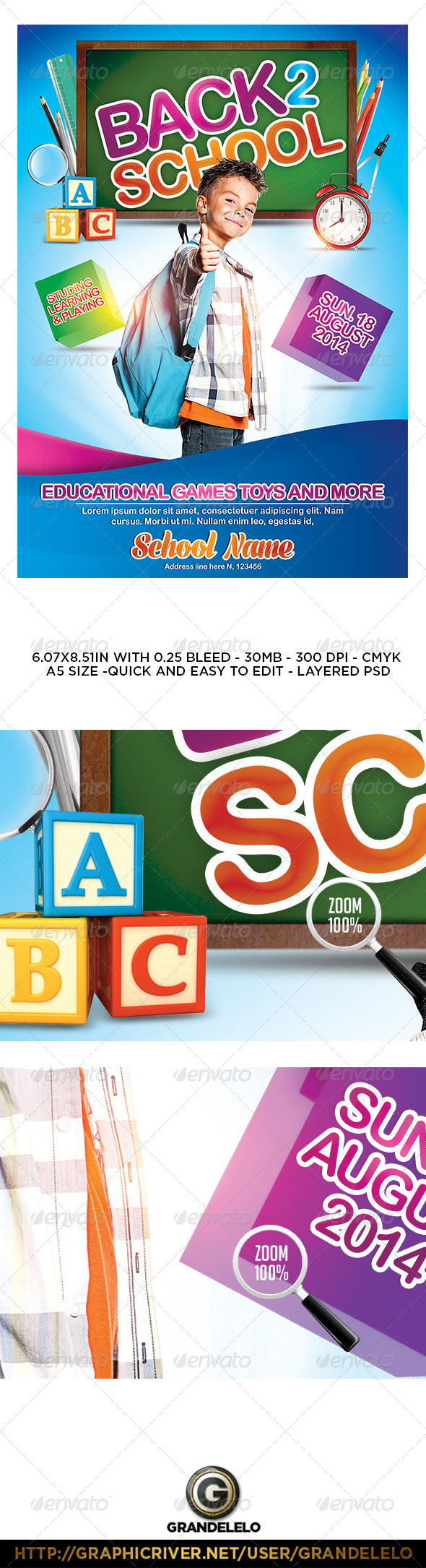 GraphicRiver Kids Back to School Flyer Poster Template 8350984