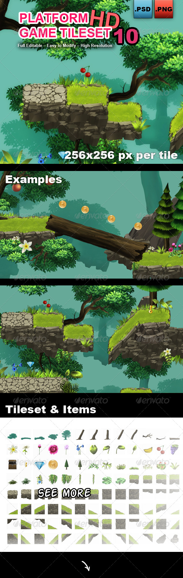 GraphicRiver Platform Game Tileset 10 HD 8351290