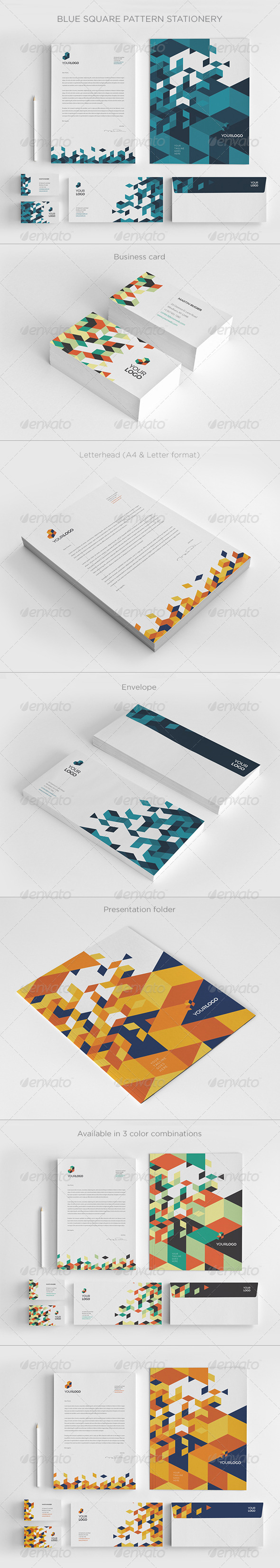 GraphicRiver Blue Square Pattern Stationery 8351533