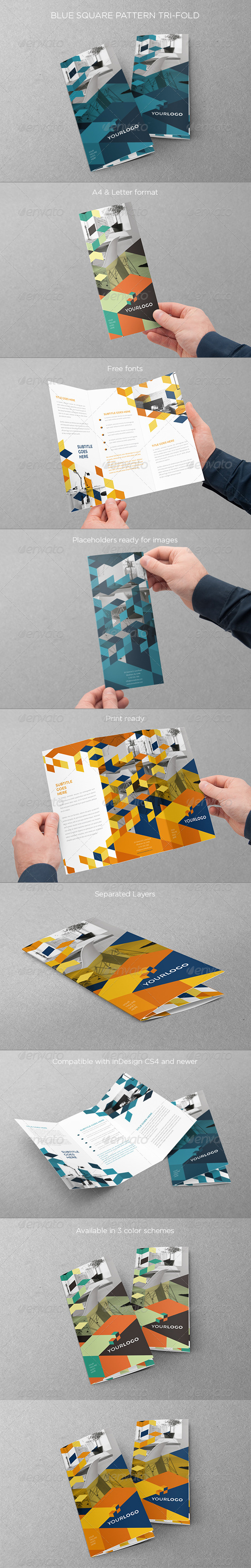 GraphicRiver Blue Square Pattern Trifold 8351680