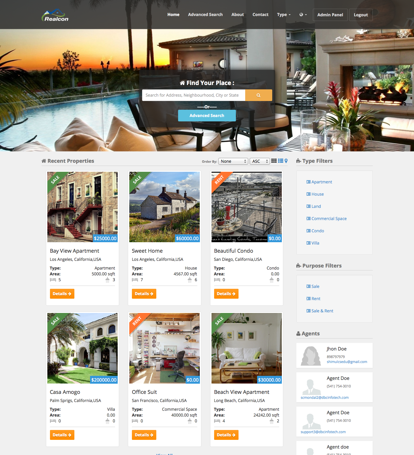 realcon real estate property listing by dbcinfotech codecanyon realcon real estate property listing