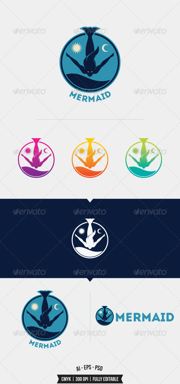GraphicRiver Mermaid Logo Template 8352416