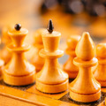 Ancient Wooden Chess Standing On Chessboard - PhotoDune Item for Sale