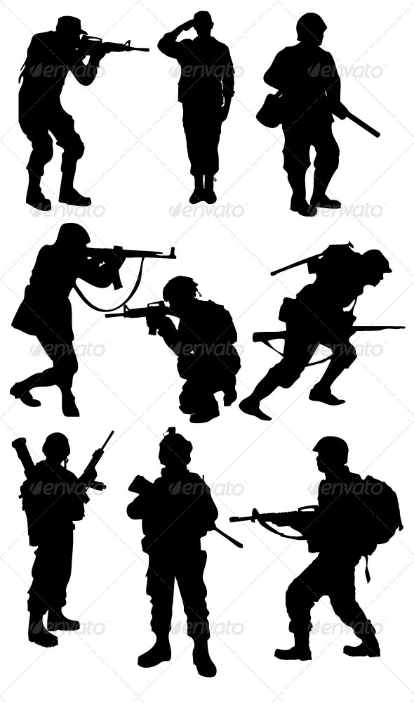 GraphicRiver Soldier Silhouettes 8353052