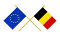 Flags of Belgium and European Union, 3d Render, Isolated on White - PhotoDune Item for Sale