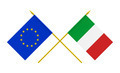 Flags of Italy and European Union, 3d Render, Isolated on White - PhotoDune Item for Sale