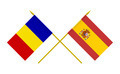 Flags of Romania and Spain, 3d Render, Isolated on White - PhotoDune Item for Sale