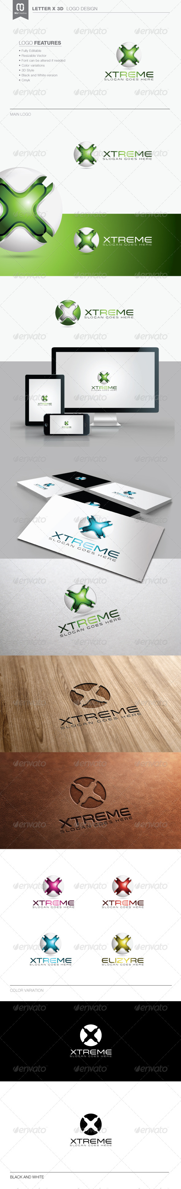 GraphicRiver Letter X 3D Tech Logo 8353411