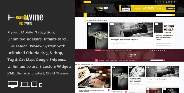 ThemeForest Wine Masonry Review WordPress News Magazine 8259466