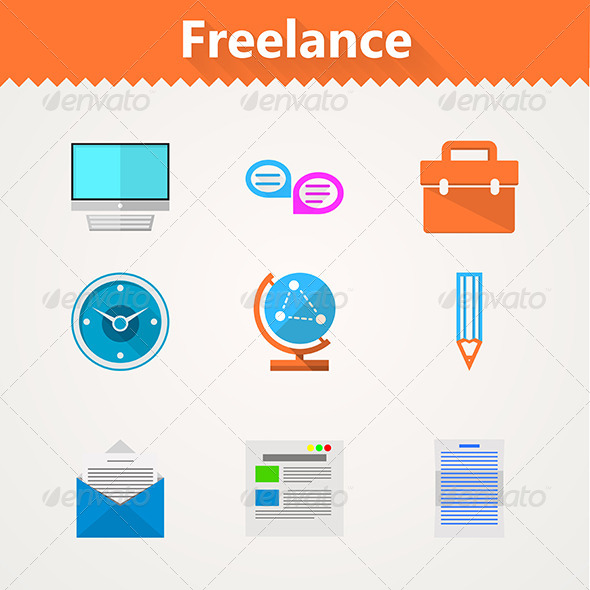 GraphicRiver Flat Vector Icons for Freelance and Business 8353712