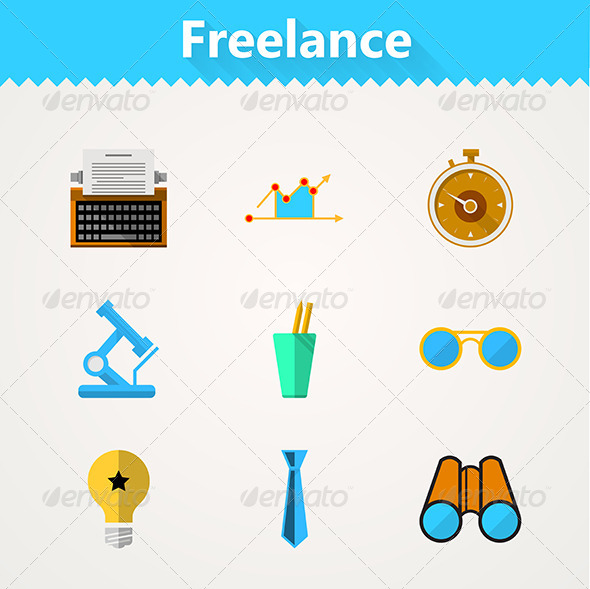 GraphicRiver Flat Vector Icons for Freelance and Business 8353716