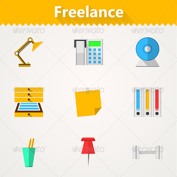 GraphicRiver Flat Vector Icons for Freelance and Business 8353728