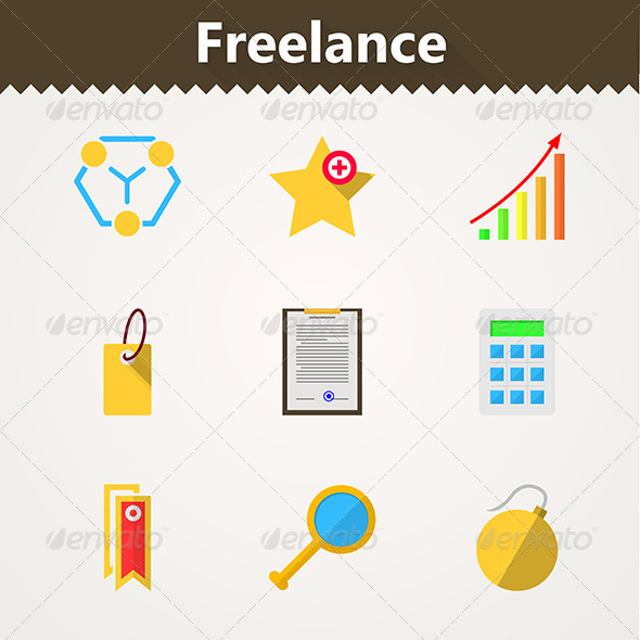 GraphicRiver Flat Vector Icons for Freelance and Business 8353733