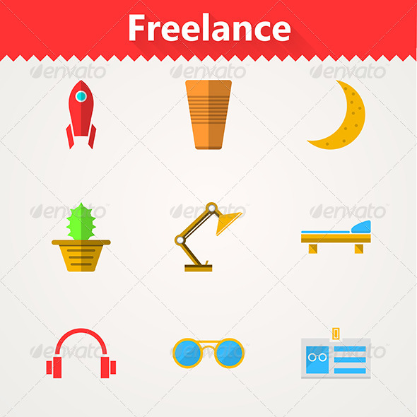 GraphicRiver Flat Vector Icons for Freelance and Business 8353735