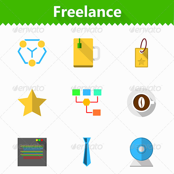 GraphicRiver Flat Vector Icons for Freelance and Business 8353738