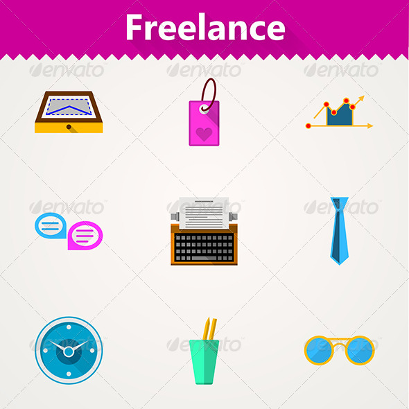 GraphicRiver Flat Vector Icons for Freelance and Business 8353739