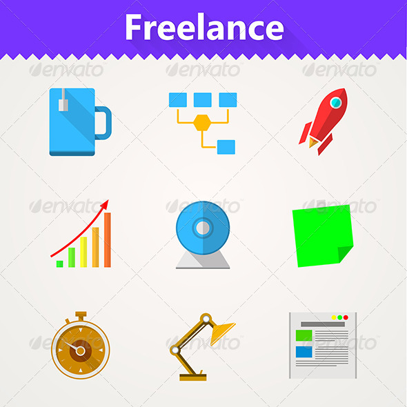 GraphicRiver Flat Vector Icons for Freelance and Business 8353741