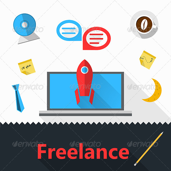 GraphicRiver Vector Flat Icons for Freelance or Business 8353795