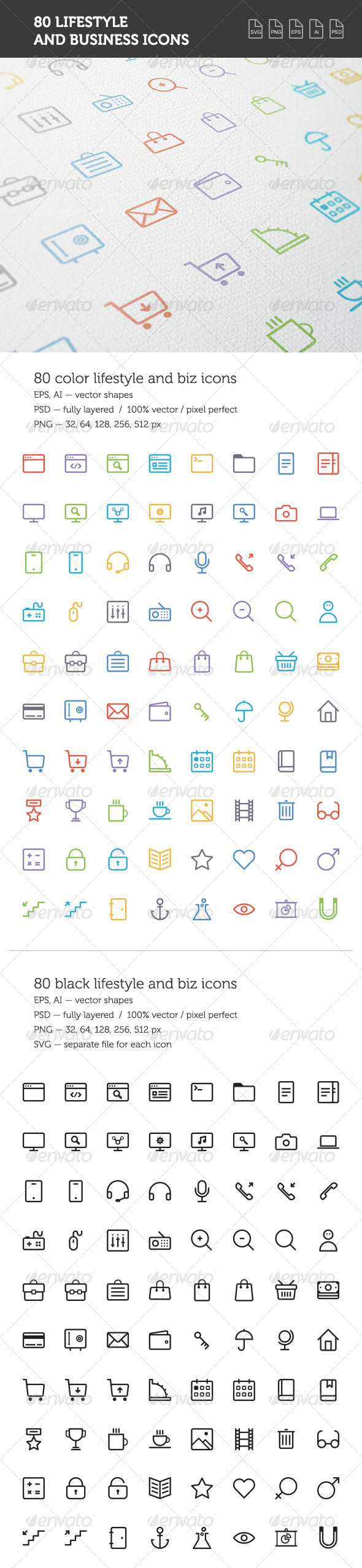 Lifestyle and Business Icon Set