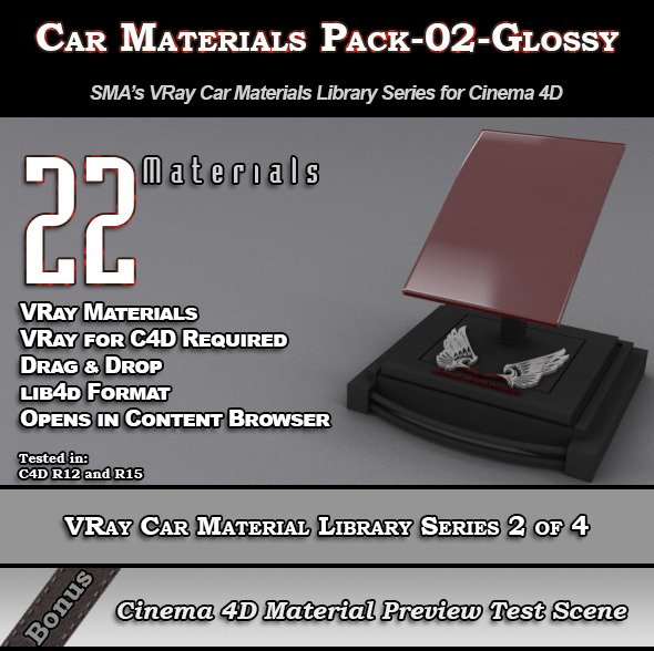 3DOcean 22 VRay Car Materials Pack-02-Glossy for Cinema 4D 8354121