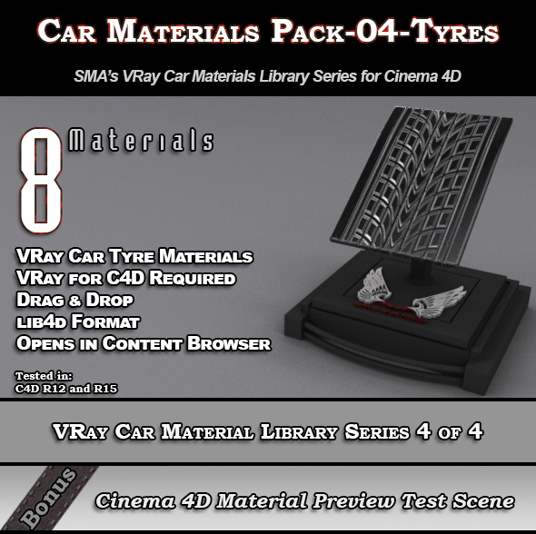 3DOcean 8 VRay Car Materials Pack-04-Tyres for Cinema 4D 8354126