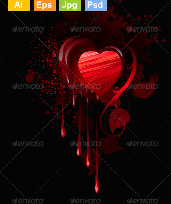 GraphicRiver Painted Red Heart 8354188