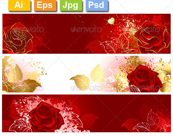 GraphicRiver Banners with Red Roses 8354205