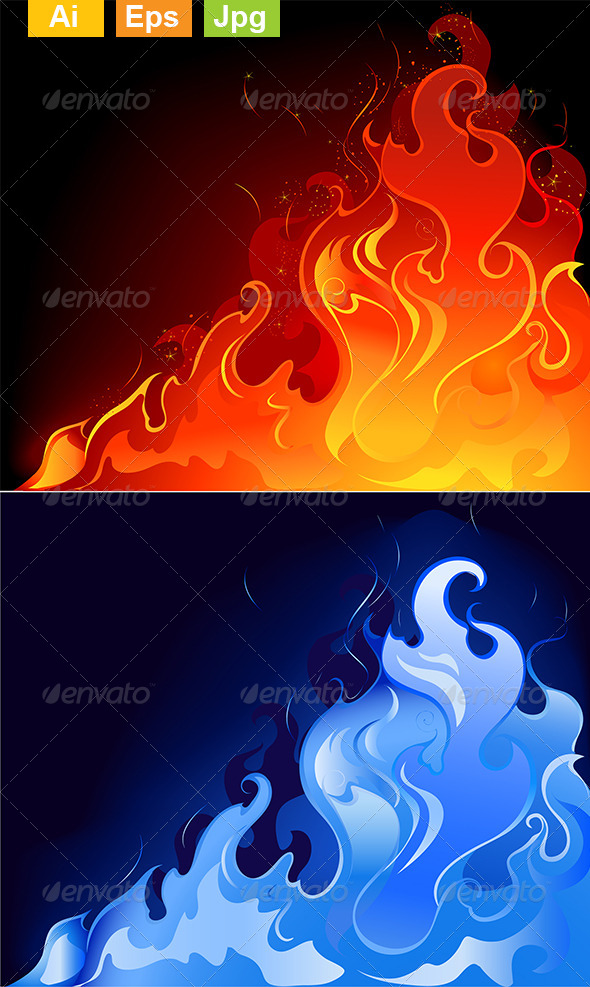GraphicRiver Red and Blue Flames 8354212