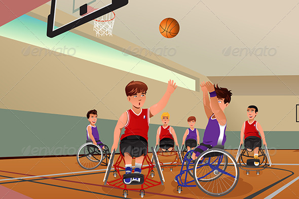 GraphicRiver Men in Wheelchairs Playing Basketball 8354266